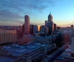 Downtown Indianapolis at sunrise, December 5, 2012
