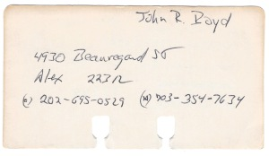 JRB Rolodex Card Obverse